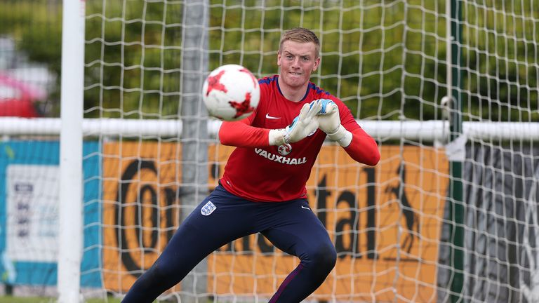 Jordan Pickford of England during a training session at St Georges Park on June 7, 2017