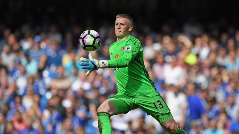 Jordan Pickford of Sunderland in action during the Premier League match between Chelsea and Sunderland at Stamford Bridge on May