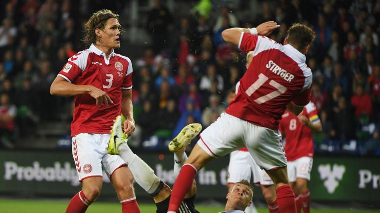 Joshua Kimmich scores overhead for Germany in Denmark