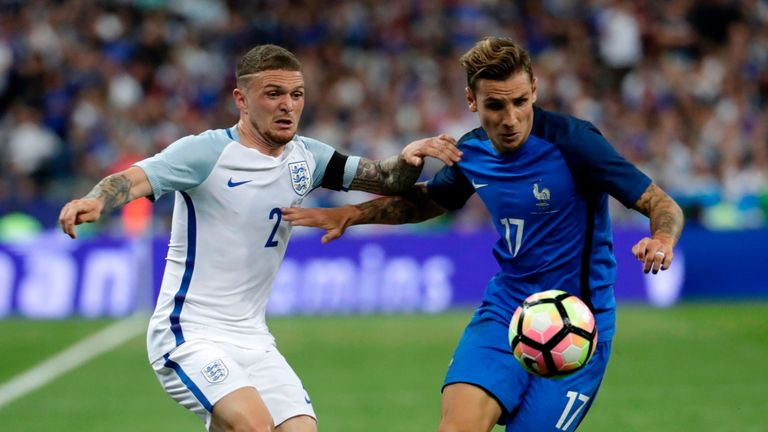 Kieran Trippier made his England debut against France in June