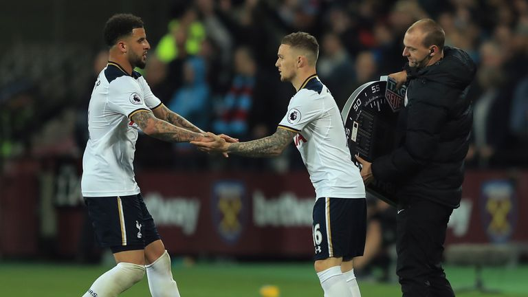 STRATFORD, ENGLAND - MAY 05:  Kieran Trippier of Tottenham Hotspur comes on as a second half substitue for Kyle Walker of Tottenham Hotspur during the Prem