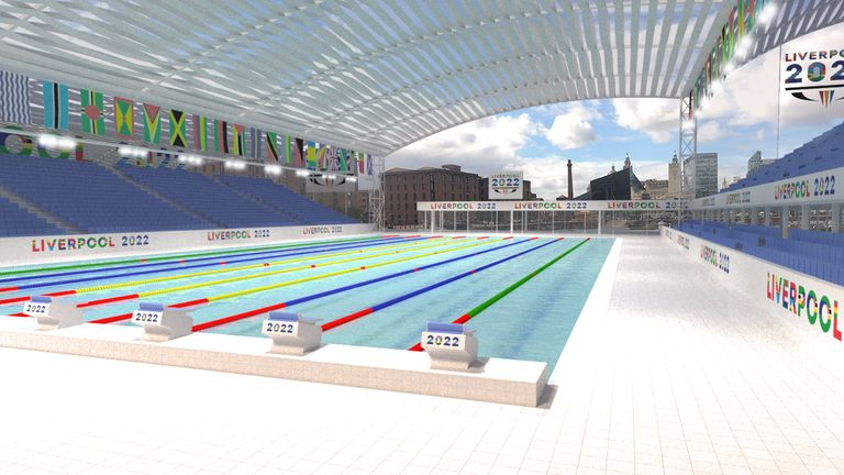 The proposed pool design for Liverpool's 2022 Commonwealth Games bid