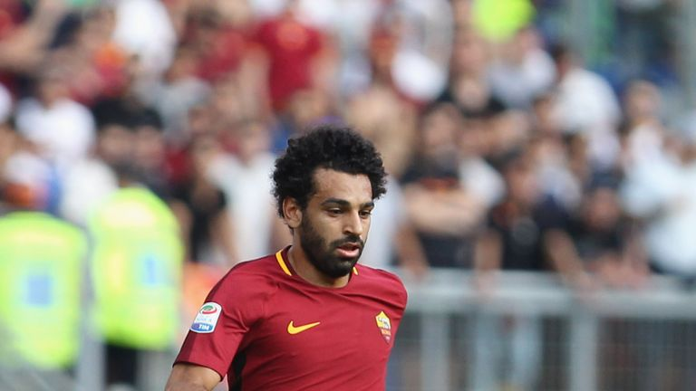 Mohamed Salah of Roma in action during the Serie A match against Genoa