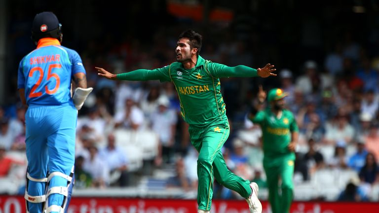 Mohammad Amir celebrates after taking the wicket of Shikhar Dhawan in the Champions Trophy final
