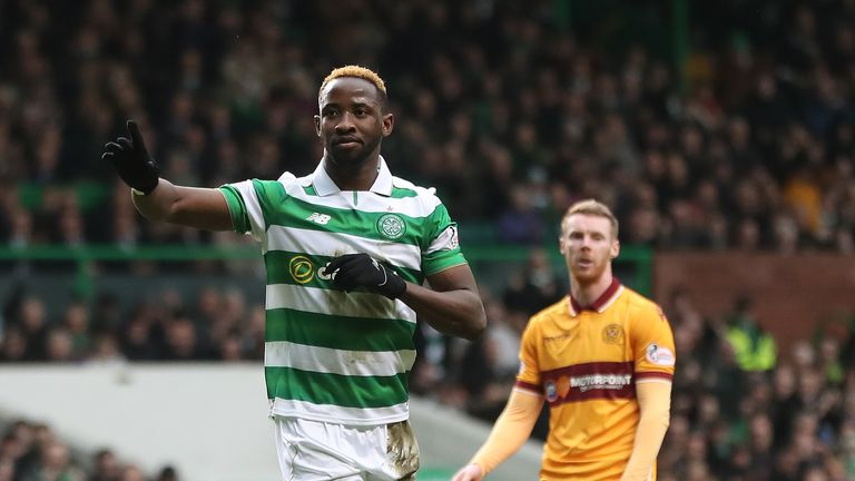 GLASGOW, SCOTLAND - FEBRUARY 18: Moussa Dembele of Celtic  celebrates after he scores the opening goal from the penalty spot during the Ladbrokes Scottish