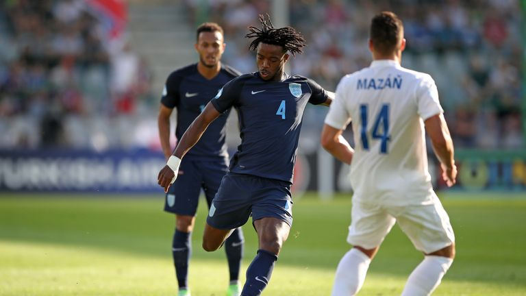 England's Nathaniel Chalobah shoots during the UEFA European Under-21 Championship, Group A match at the Kolporter Arena, Kielce.