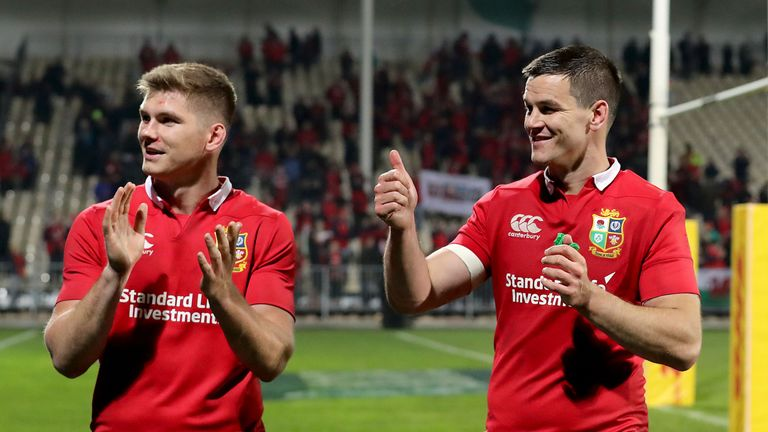 Johnny Sexton (r) starts in the No 10 jersey on Saturday while Owen Farrell occupies the bench