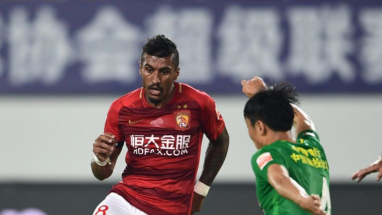 Paulinho in action for Guangzhou Evergrande during the Chinese Super League match against Beijing Guoan