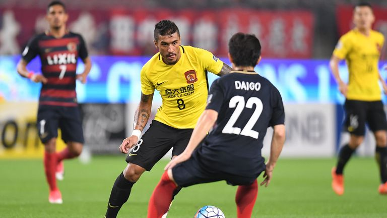 KASHIMA, JAPAN - MAY 30:  Paulinho of Guangzhou Evergrande in action during the AFC Champions League Round of 16 match between Kashima Antlers and Guangzho