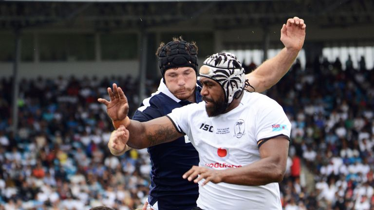 Fiji prop Kalivati Tawake, pictured here lifting in the lineout, lasted 75 minutes in the win over Scotland and gave everything