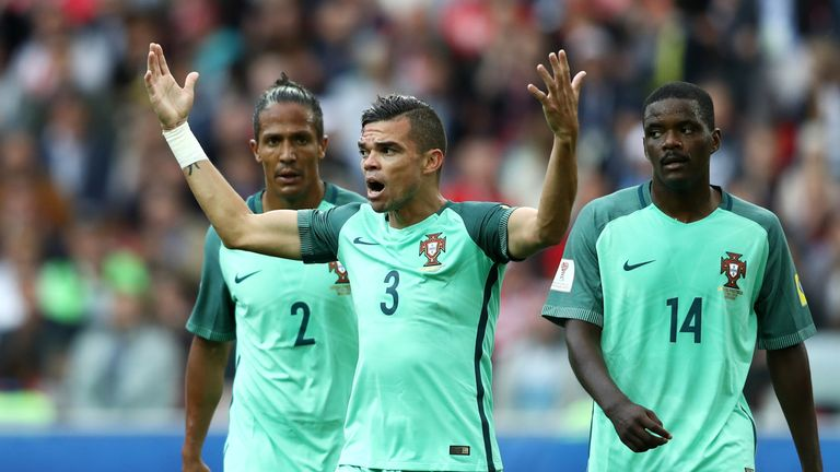 Pepe shows his frustration during Portugal's win