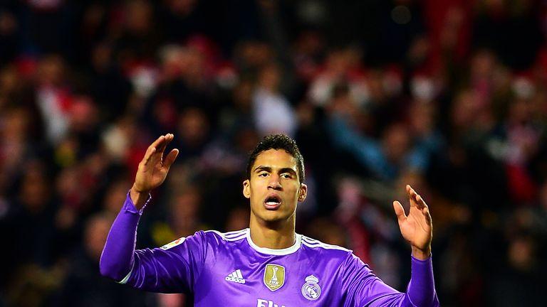 Real Madrid's Raphael Varane gestures during the Spanish league football match Sevilla FC vs Real Madrid CF at the Ramon Sanchez Pizjuan, 15 January 2017