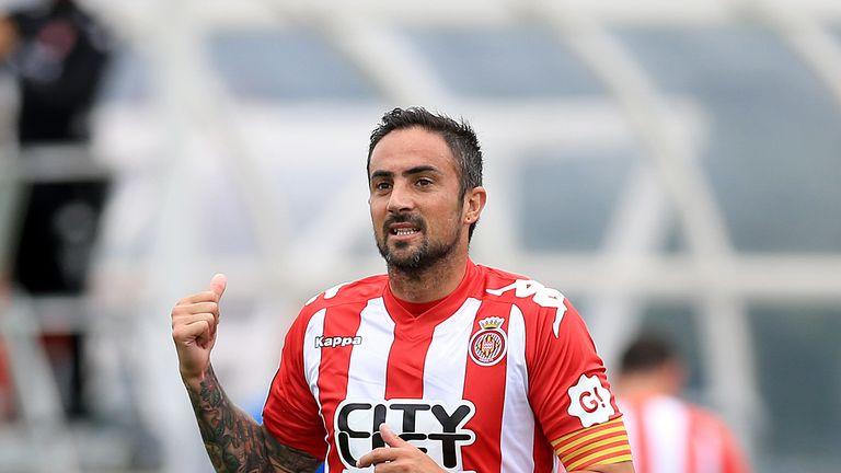 Richy in action for Girona against Manchester City in pre-season