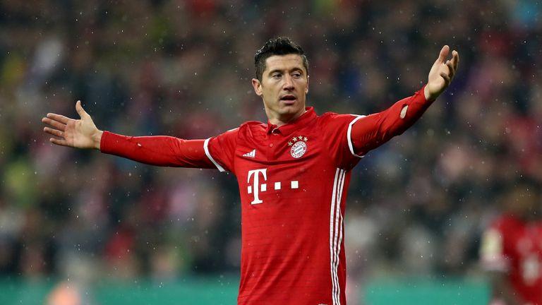 Robert Lewandowski in action for Bayern Munich