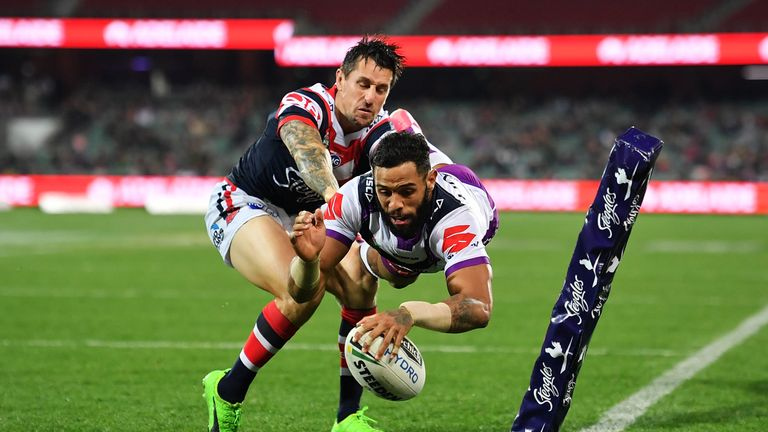 Josh Addo-Carr scores a try against Sydney Roosters at Adelaide Oval