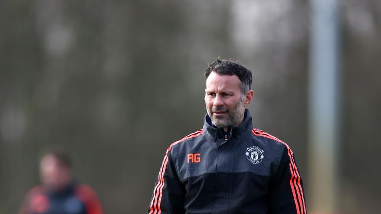 MANCHESTER, ENGLAND - MARCH 16:  Ryan Giggs, Assistant Manager of Manchester United looks on during a training session ahead of the UEFA Europa League roun