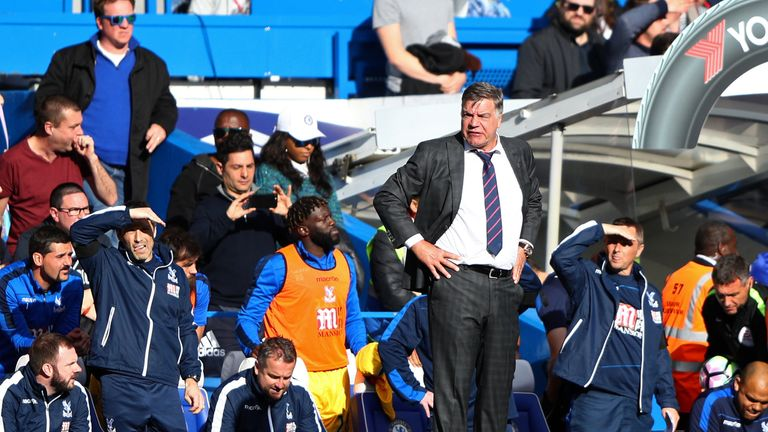 LONDON, ENGLAND - APRIL 01: Sam Allardyce, Manager of Crystal Palace, Ryland Morgans (standing up left)
