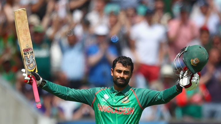Tamim Iqbal celebrates his century during Bangladesh's ICC Champions Trophy match against England in June
