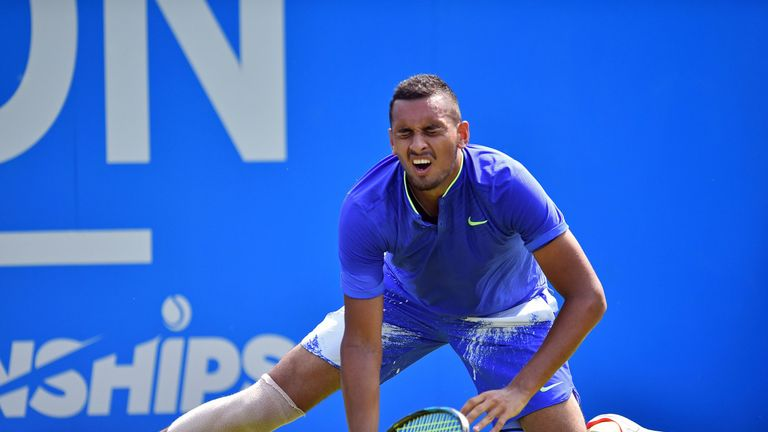 Kyrgios was injured playing against Donald Young at Queen's a fortnight ago
