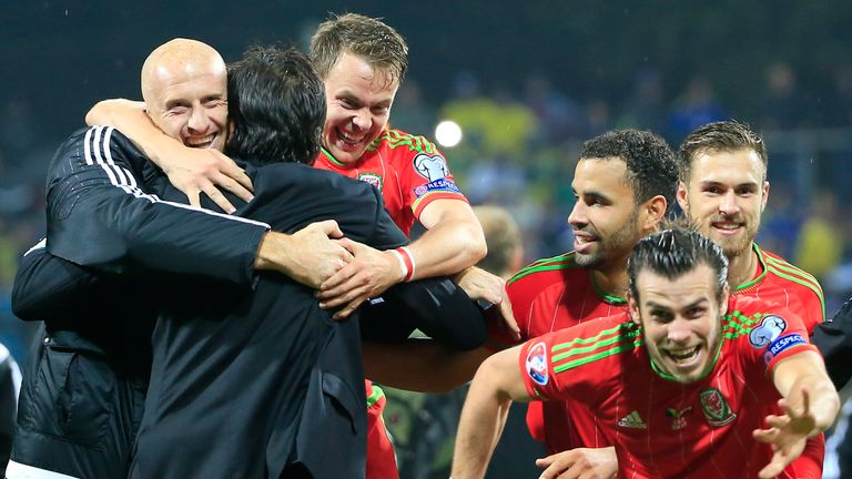 Coleman celebrates with the Wales squad at Euro 2016