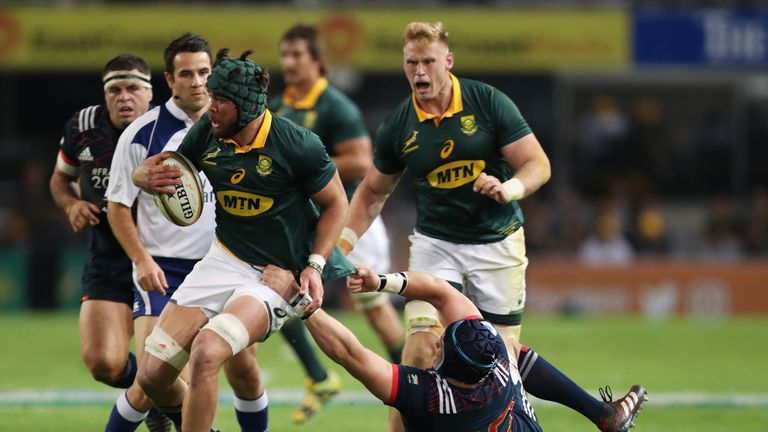 Warren Whiteley on the charge for the Springboks