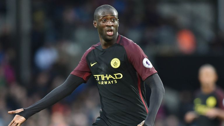 Manchester City's Ivorian midfielder Yaya Toure calls for the ball during the English Premier League football match between Crystal Palace and Man City