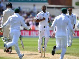 Vernon Philander celebrates the wicket of Keaton Jennings