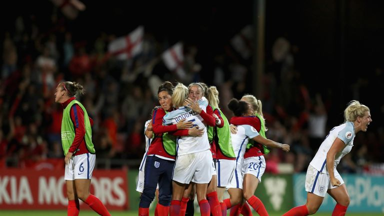 England's women celebrate victory over France in the Euro 2017 quarter-finals