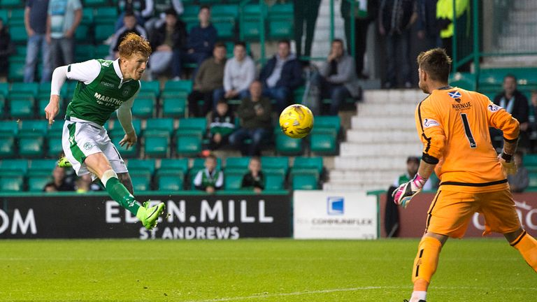 Hibernian's Simon Murray completes his hat-trick against Arbroath