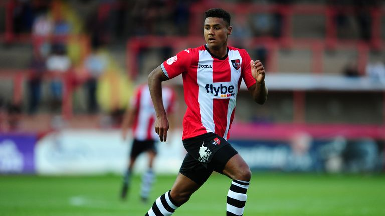 EXETER, UNITED KINGDOM - JULY 28: Ollie Watkins of Exeter City during the Pre Season Friendly match between Exeter City and Cardiff City at St James Park