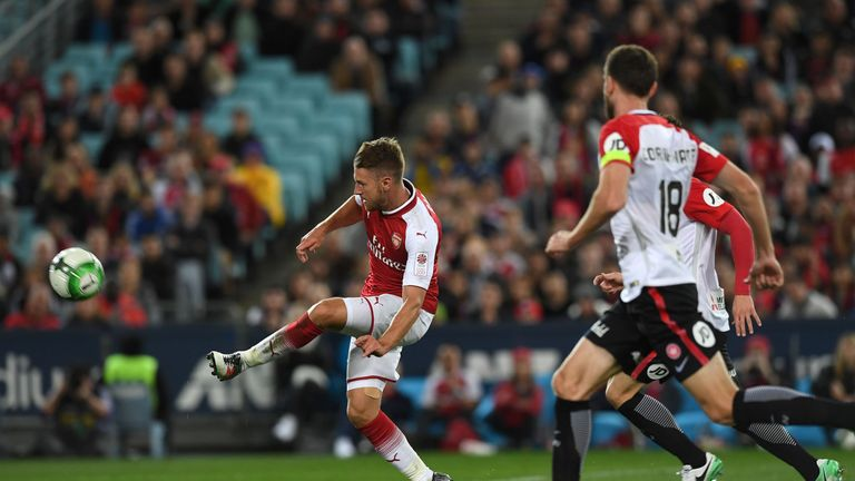 Aaron Ramsey scores Arsenal's second in Sydney after being spotted by Nacho Monreal