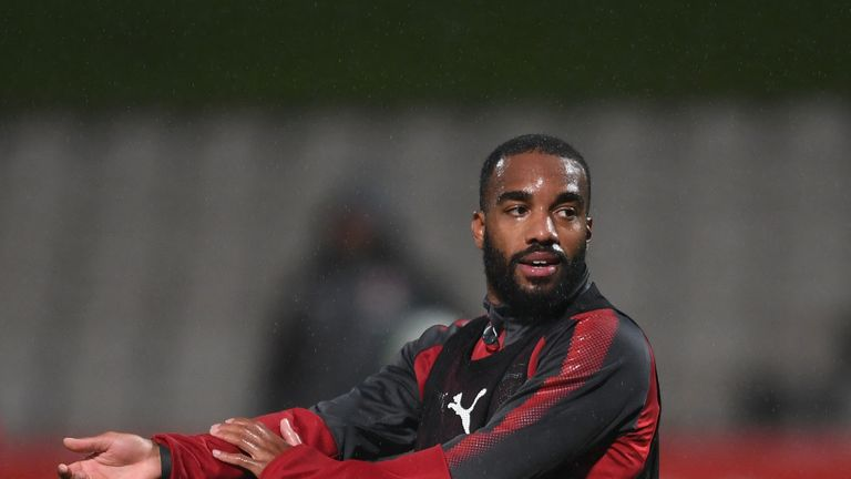 Alexandre Lacazette takes part in training during Arsenal's pre-season tour in Sydney.
