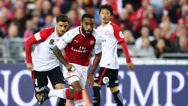 Alexandre Lacazette in action during Arsenal's friendly against Western Sydney Wanderers