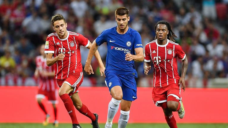 SINGAPORE - JULY 25: Alvaro Morata #9 of Chelsea FC runs with the ball during the International Champions Cup match between Chelsea FC and FC Bayern Munich