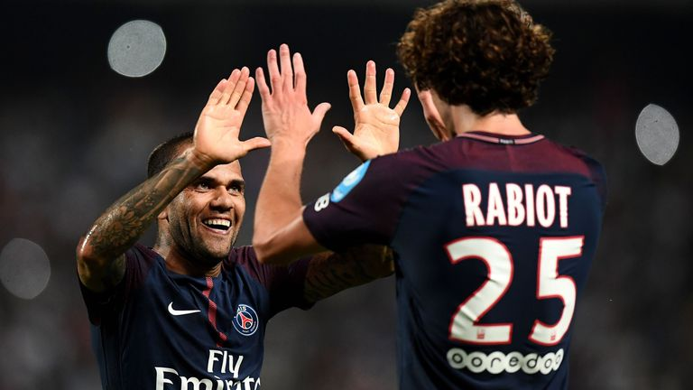 Adrien Rabiot (right) is congratulated by Alves after scoring