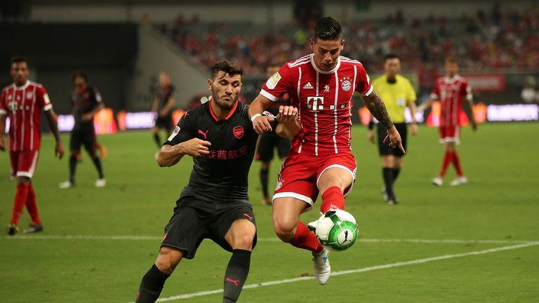 Kolasinac in action for Arsenal against Bayern Munich in pre-season