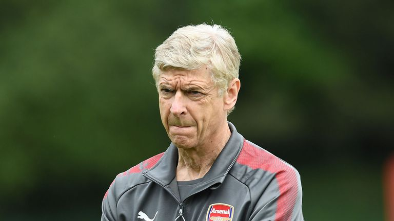 Arsene Wenger during a training session at London Colney