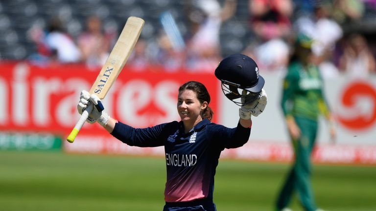 Tammy Beaumont celebrates her century during the ICC Women's World Cup 2017 match between England and South Africa