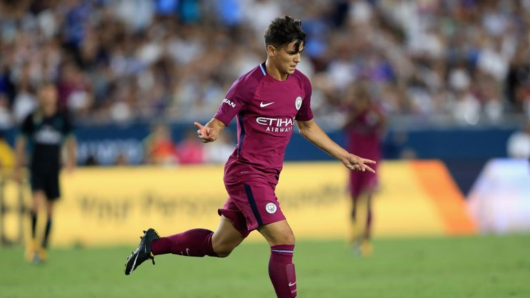 Brahim Diaz of Manchester City reacts after scoring a goal against Real Madrid