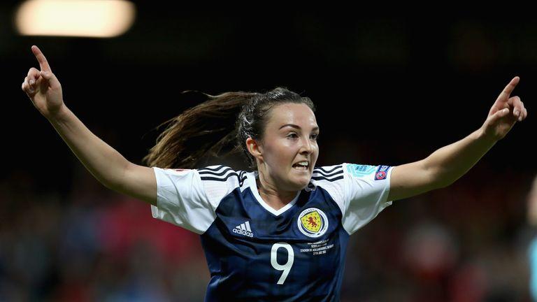 DEVENTER, NETHERLANDS - JULY 27:  Caroline Weir of Scotland celebrates scoring her sides first goal during the Group D match between Scotland and Spain dur