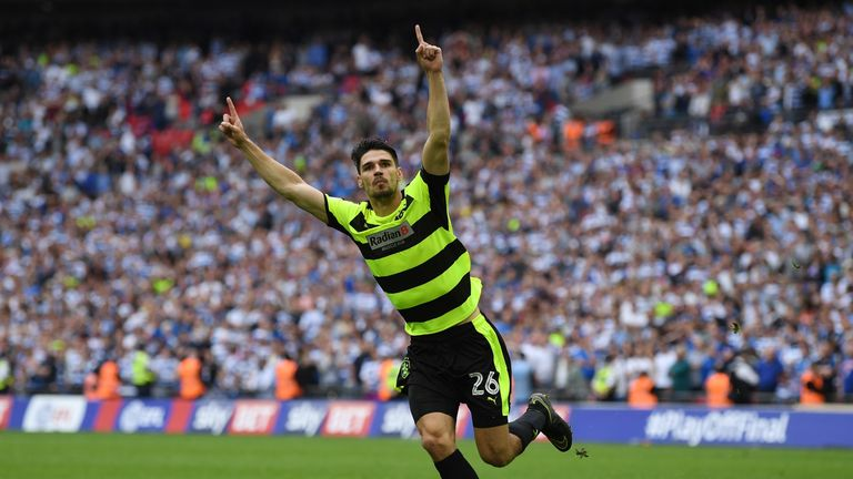Huddersfield's Wembley hero Christopher Schindler celebrates his winning penalty in the Sky Bet Championship play-off