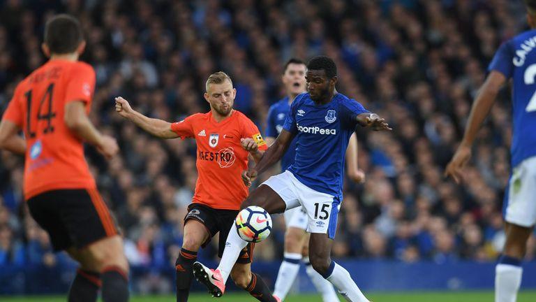 Everton defender Cuco Martina (centre) battles for possession at Goodison
