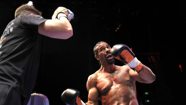 David Haye during the open workout at the Indigo 02, London on March 1, 2017