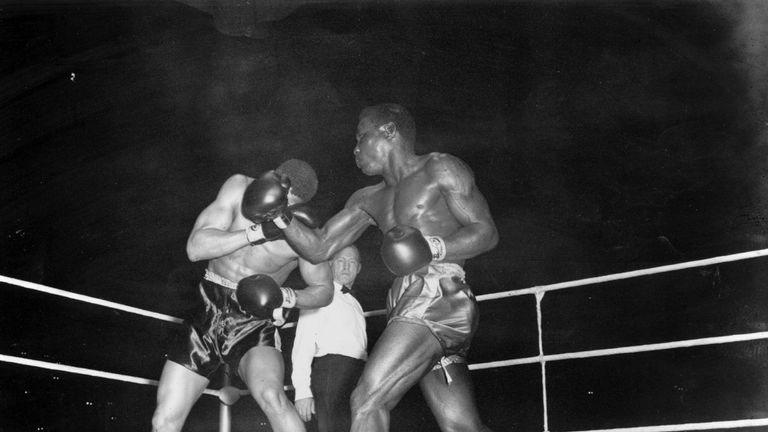 Dick Tiger in action in 1958, fighting in Kensington, London