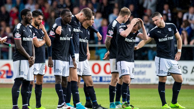 Dundee lost a penalty shoot-out to neighbours United on Sunday