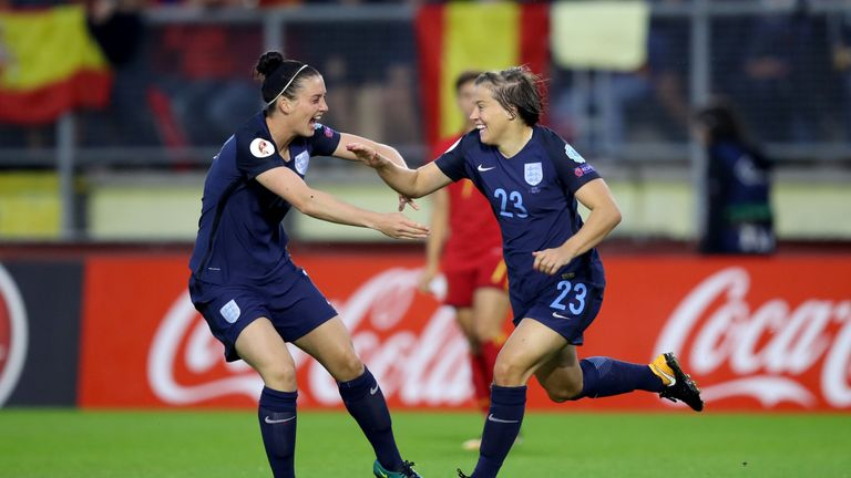 England's Fran Kirby celebrates scoring her side's first goal of the game during the UEFA Women's Euro 2017, Group D match at Rat Verlegh Stadium, Breda