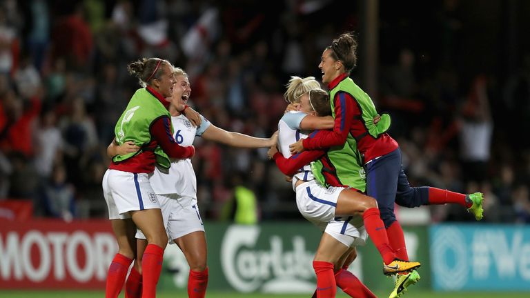 The England team celebrate beating France