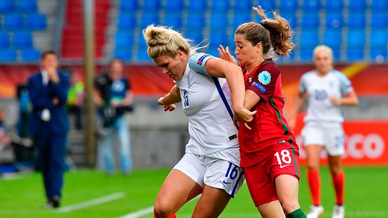 England's midfielder Millie Bright  (L) vies with  Portugal's forward Carolina Mendes during the UEFA Women's Euro 2017 football tournament between Portuga
