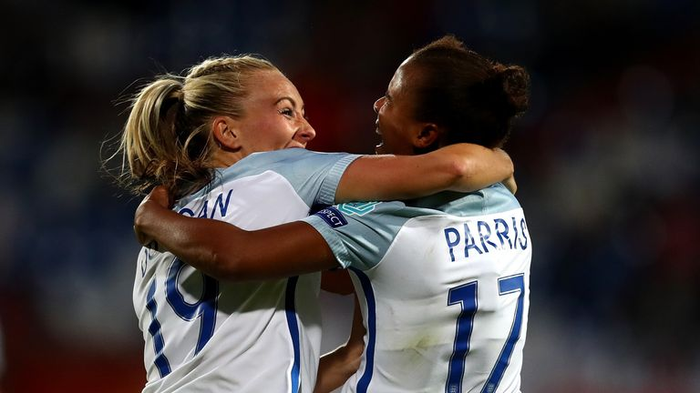 TILBURG, NETHERLANDS - JULY 27:  Nikita Parris of England celebrates with team mate Toni Duggan after scoring her team's second goal of the game during the