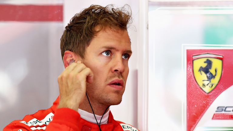 Sebastian Vettel in the Ferrari garage prior to his drive during practice for the Austrian GP